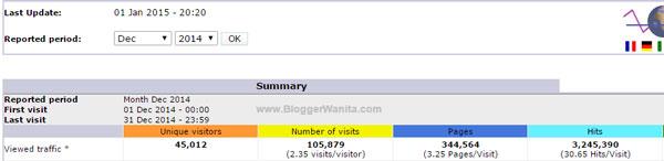 Statistik Trafik Blog BloggerWanita.com Disember 2014