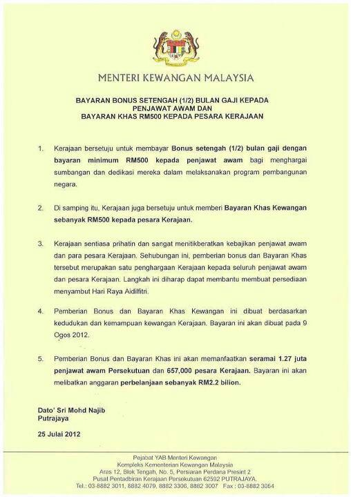 Bonus Raya Setengah Bulan Gaji 2012