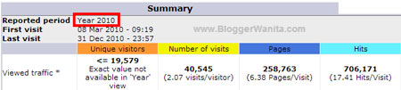 Statistik BloggerWanita.com 2010