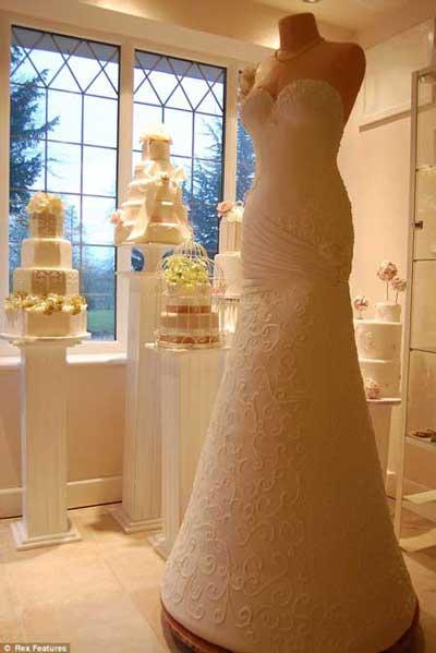 Kek gaun pengantin yang unik dan cantik