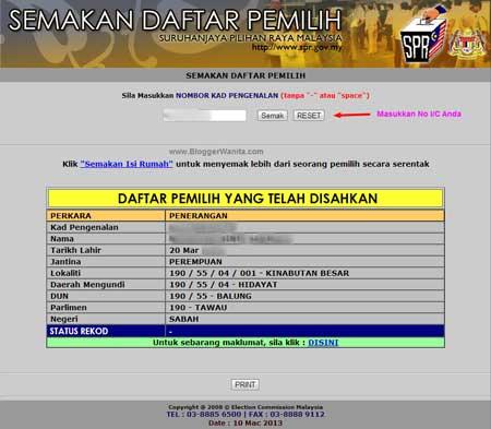 Semakan Daftar Pemilih 1 untuk PRU 13