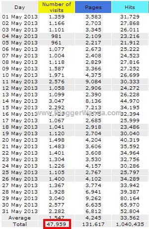 Statistik Bloggerwanita.com Mei 2013