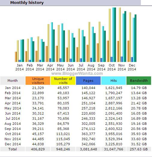 Statistik BloggerWanita.com Disember 2014